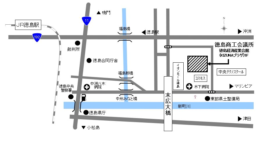 徳島商工会議所の地図